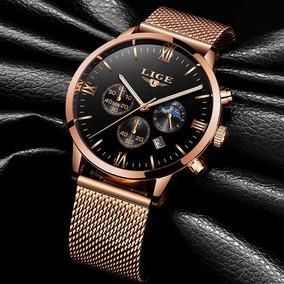 Relógio Masculino Lige Dourado Pulseira Aço Luxo Esporte