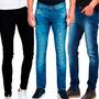 Kit 4 Calças Jeans Masculina Skinny Justas Com E Sem Lycra