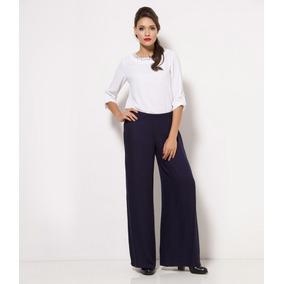 Calça Pantalona 2 Peças Cós Largo Cintura Alta Malha