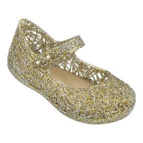 Mini Melissa Campana Zig Zag Vi Vidro Glitter Ouro Metalizad