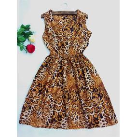 Vestido Estampado Curto Blogueira Oncinha Vestidos Feminino