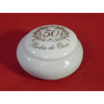 Lembrancinha Para Bodas Ouro Porta Joia Redondo De Porcelana