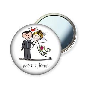 50 Espelhos Botons Personalizados Para Brindes De Casamento!