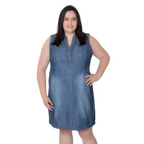 Vestido Jeans Plus Size Pedraria