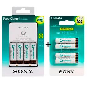 Carregador Sony + 4 Pilhas Aa 2500mah + 4 Aaa 900mah Palito