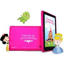 Tablet Rosa Navcity Princesas 4gb + Capa C/ Teclado + Fone