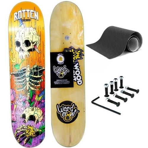 Shape Skate Wood Light Xgg 9.0'' + Lixa + Parafusos + Frete
