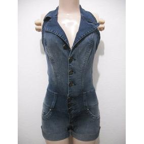Macacão Macaquinho Jeans Com Strech Tam 34 Usado Bom Estado