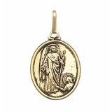 Pingente Religioso Medalha Anjo Rafael Folheado A Ouro 18k