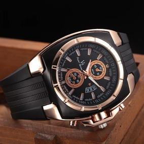 Reloj Caballero Casual Elegante Gaucho Negro Dorado Mayoreo