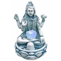Fonte Água Decorativa Shiva Na Flor De Lotus Azul C/ Luz