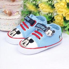 6-12m Tênis Mickey Bebê Azul Sapato Sapatinho - Importado