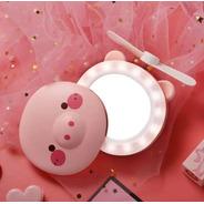 Mini Ventilador Espelho Led Usb Porquinho Rosa