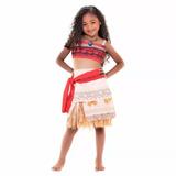 Fantasia Infantil Moana Clássica + Colar Original Disney