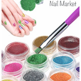 Glitter Polvo 12 Botes Colores Surtidos Para Decoracion Uñas