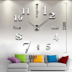 Reloj Real Pared Gigante120cm3d Plata Espejo Sala Minimal