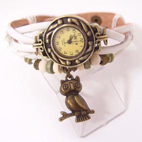 Relógio Feminino Pulseira De Couro Vintage Pingente Coruja