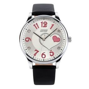 Relógio Feminino Skmei 9085 Analógico Preto E Rosa Com Nf