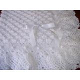 Pañoleta- Mantita- De Lana Color Blanco Tejida Al Crochet