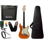 Guitarra Tagima Tg500 Dourado Afinador Amplificador Sheldon