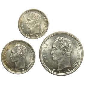 Tres Monedas De Plata 1960: Bolívar, Real Y Medio Ef+
