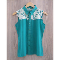 Camisa Regata Xica Bunita - Chiffon C/detalhes Renda - Verde