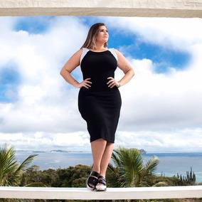 Vestido Tubinho Justo Festa Decote Preto Plus Size 2018
