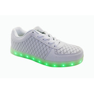 Tenis Blanco Led Luminoso Cargador Usb Unisex