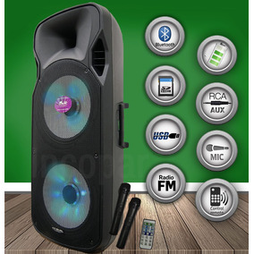Bafle Potenciado Gbr Woofer 15´´ X 2 Usb-bluetooth Karaoke