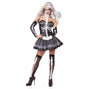 Disfraz Calavera Sexy Esqueleto Adulto Mujer Dia De Muertos