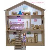 Casita De Muñecas Barbie Para Pintar C/muebles,luz Y Regalos