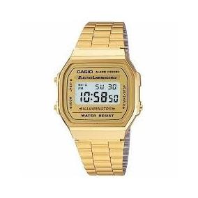 Relógios Casio Digital Aço Vintage Unisex Prata Dourado