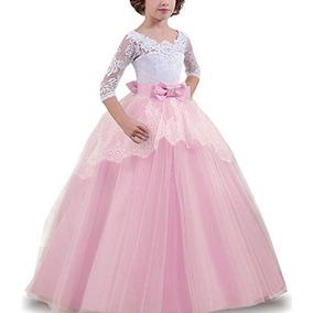 Vestido De Niña Princesa Rosa Fiestas Talla 6-7 De Ttyaovo