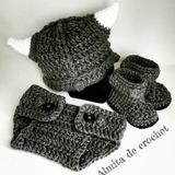Conjunto Gorro, Botas Y Cubre Pañal De Vikingo A Crochet