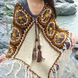 Poncho Tejido Crochet Artesanal Salteño Cardigan Saco