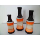 Jogo Trio Vasos Em Cerâmica - Laranja/marrom/cru