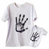 Kit Camisetas Dia Dos Pais Mãos Estampadas 2 Peças
