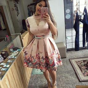 Vestido Mido De Sarja Acetinada