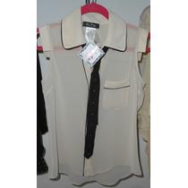 Elegante Blusa Para Dama De Fina Tela Con Corbata