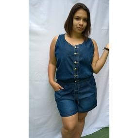 Macacão Curto Jeans Plus Size