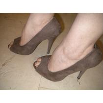 Zapatos Tacon Aguja Color Gris Oscuro.nello Rossi Intactos!!