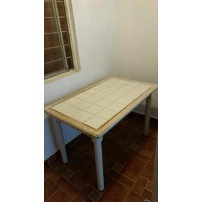 Mesa De Madera Con Mosaico Blanco (altura De Comedor)