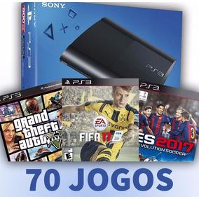 Ps3 500gb 70 Jogos 2 Controles Fifa17 Pes17 Gta5 Dbz Naruto