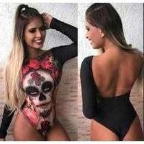 Body Caveira Mexicana Manga Longa