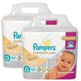 Kit Fralda Pampers Premium Care Tamanho G 136 Tiras