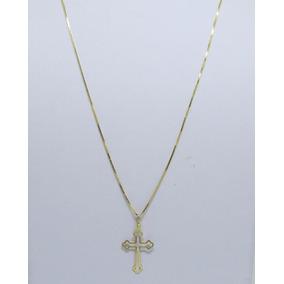 Cordão Corrente Veneziana 60cm E Crucifixo Ouro 18k Maciço 6f199ccf9e