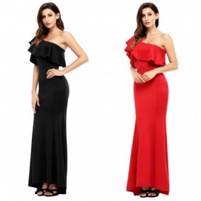 Vestido De Fiesta Rojo Negro Moderno Un Hombro Largo Boda