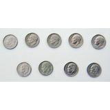 9 Monedas De 10 Centavos De Estados Unidos De 1966 A 2017