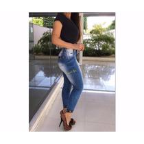 Calça Jeans Feminina Muito Linda Cintura Alta Crooped Capri