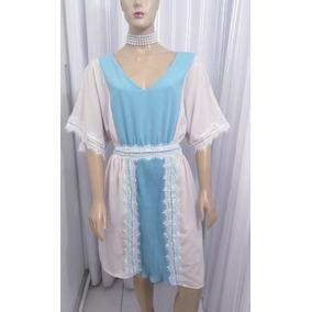 Vestido De Chifon Bege/azul Com Detalhe De Renda